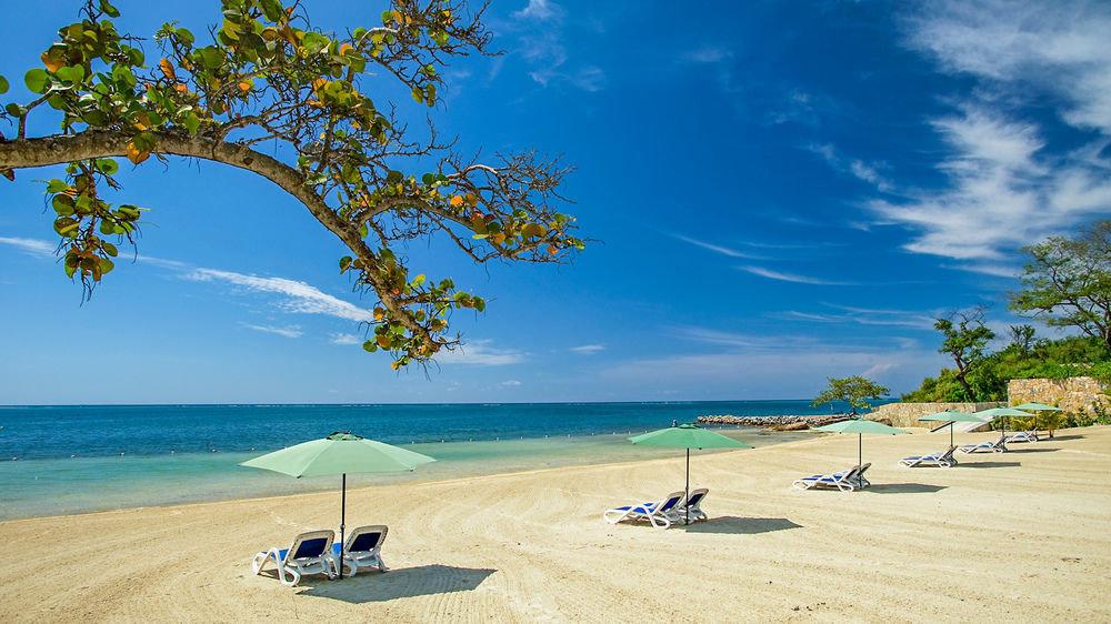 sky water tree Beach Nature shore Sea Coast Ocean caribbean Island sand tropics sandy shade day lined