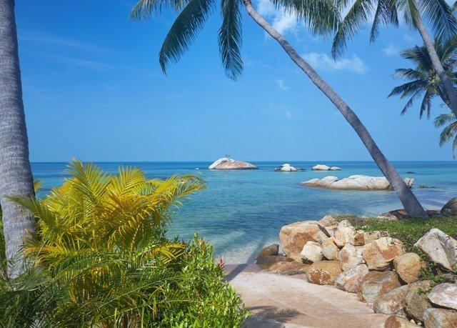 tree sky water palm rock Beach plant Ocean shore caribbean Coast Sea arecales Lagoon cove Lake overlooking tropics Pool Resort lined sandy shade