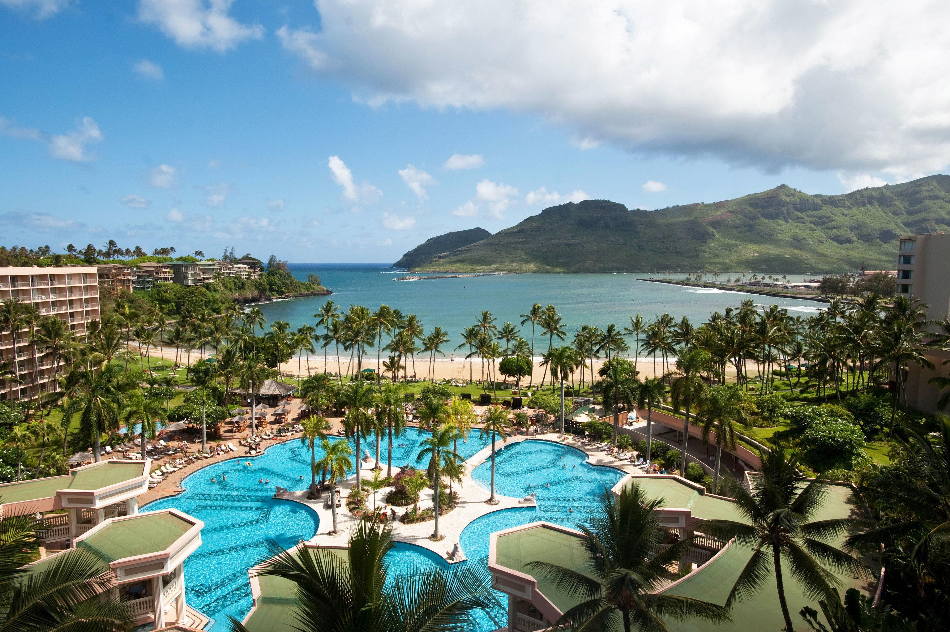 sky Resort swimming pool mountain Sea caribbean Beach Ocean Nature Lagoon Coast tropics plant shore day