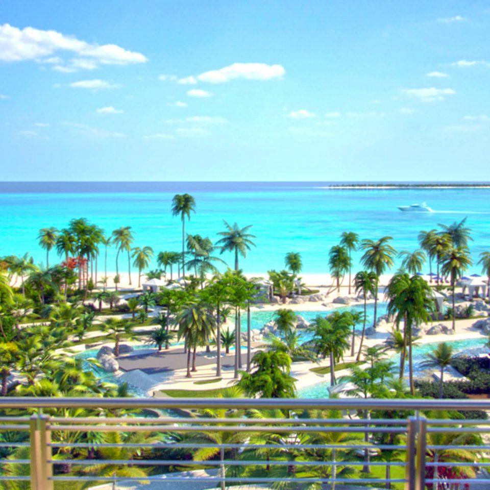 Sea sky Resort tropics palm tree arecales Ocean shore water tree leisure caribbean Beach horizon Coast computer wallpaper Lagoon