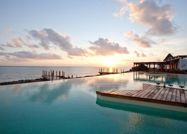 water sky pier Sea scene horizon Ocean Coast clouds Resort Beach dusk caribbean Lagoon shore day