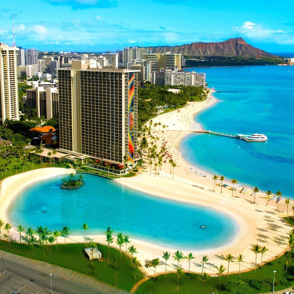 sky water swimming pool leisure Resort Coast Sea Beach Lagoon marina aerial photography condominium caribbean blue shore