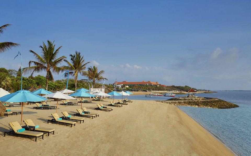 umbrella sky water Beach chair Sea shore Coast Ocean palm sand lawn cape Nature lined Resort cove day sandy shade