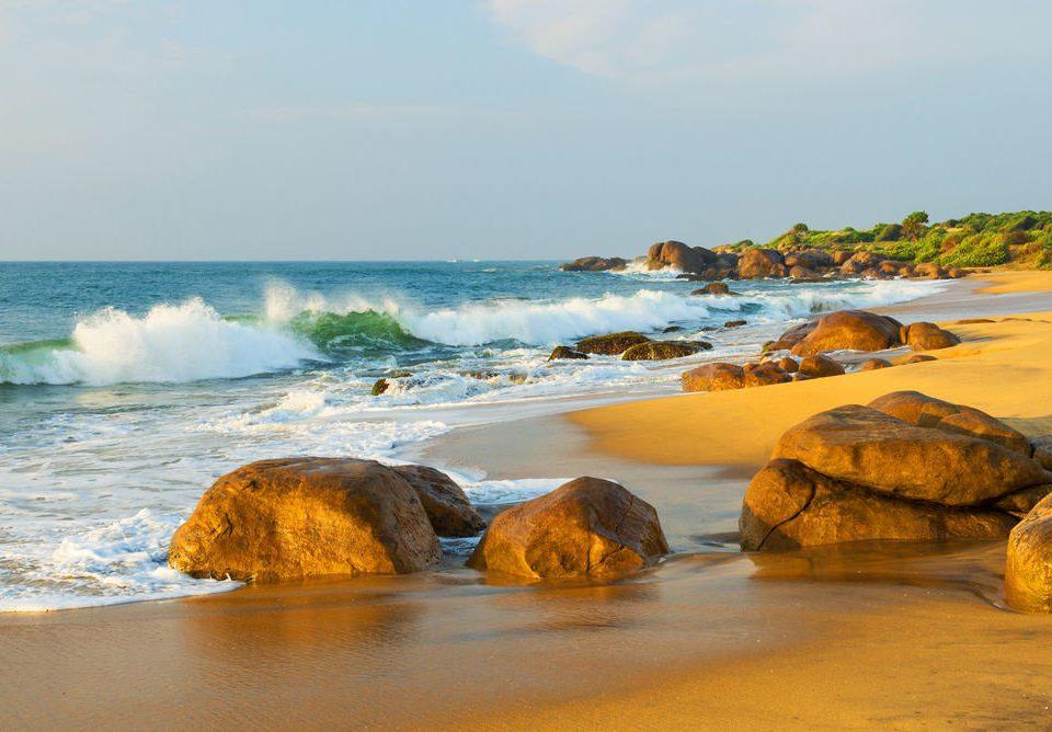 water sky shore Coast Sea Beach Ocean rock Nature wave wind wave horizon morning sand cove material cape terrain