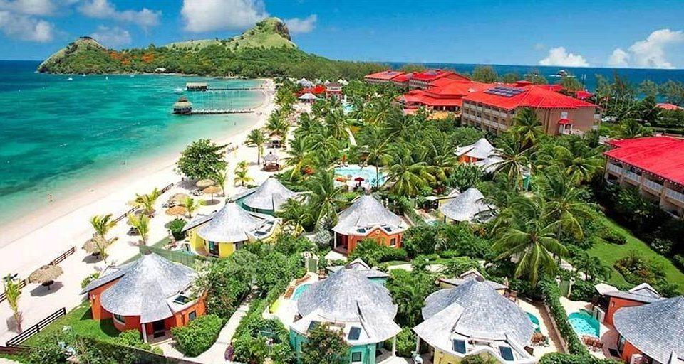 water umbrella Nature ecosystem caribbean Resort Beach Coast colorful Village shore