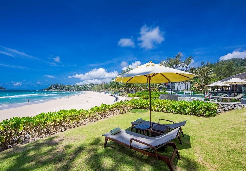 grass sky umbrella Nature chair lawn Beach Resort Coast caribbean Sea shore day