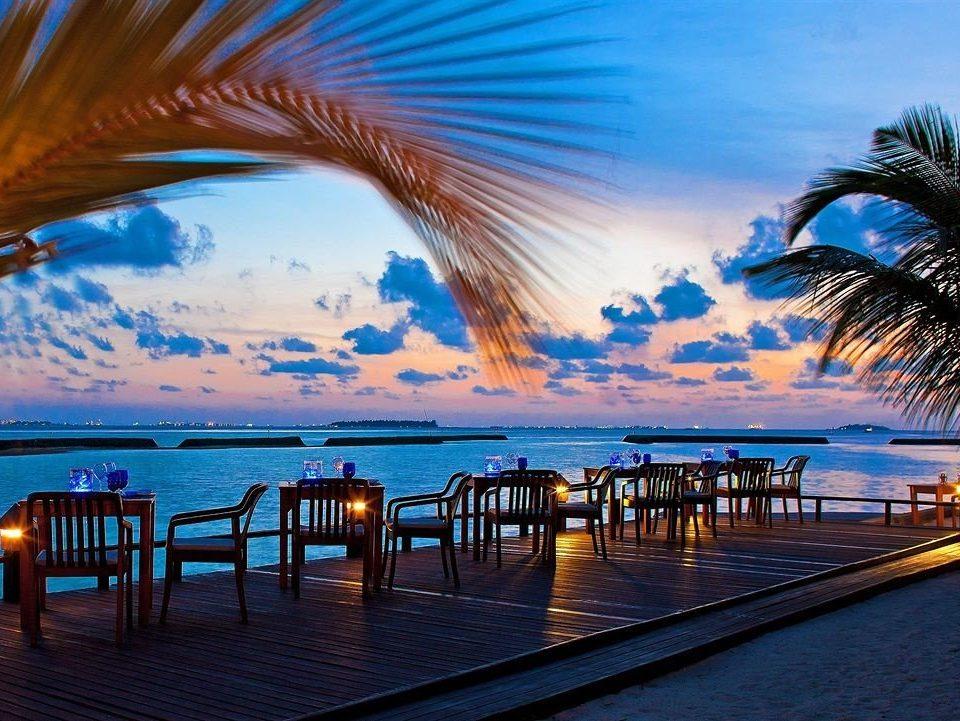 water sky Ocean Beach caribbean Sea horizon Sunset arecales evening swimming pool Resort dusk Coast palm lined shore