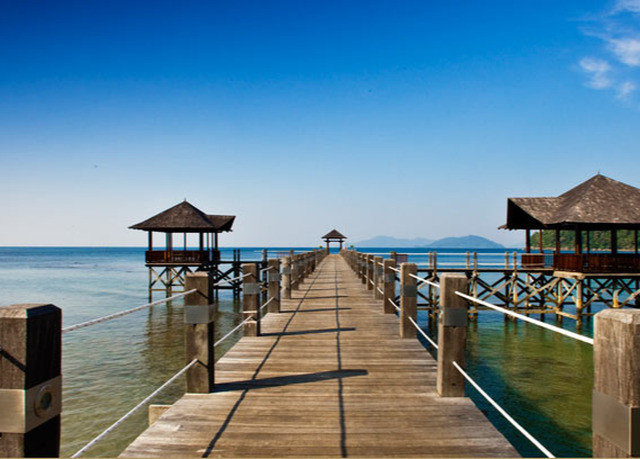 sky water pier scene leisure wooden walkway Beach Sea Resort Ocean boardwalk Coast dock lined