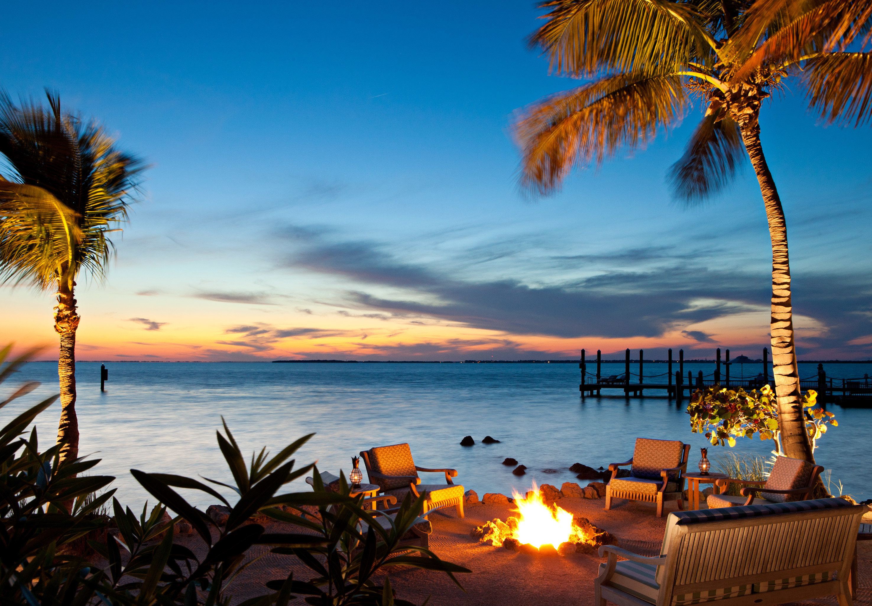 water tree sky Beach palm Sunset Ocean Sea horizon shore Coast sunrise evening dusk arecales plant palm family tropics sunlight caribbean dawn Resort lined sandy