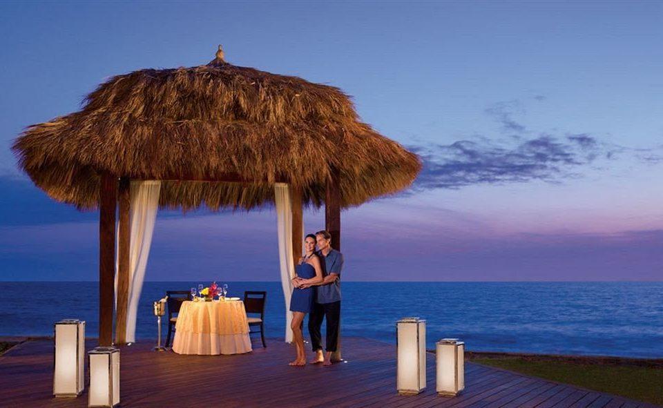 water sky Beach Ocean Sea horizon Coast hut Resort wooden overlooking shore