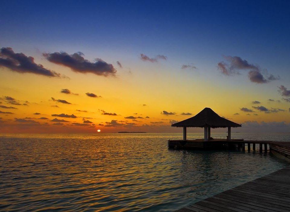water sky pier scene Sunset Sea sunrise afterglow horizon Ocean dawn shore cloud Beach dusk morning evening Coast sunlight
