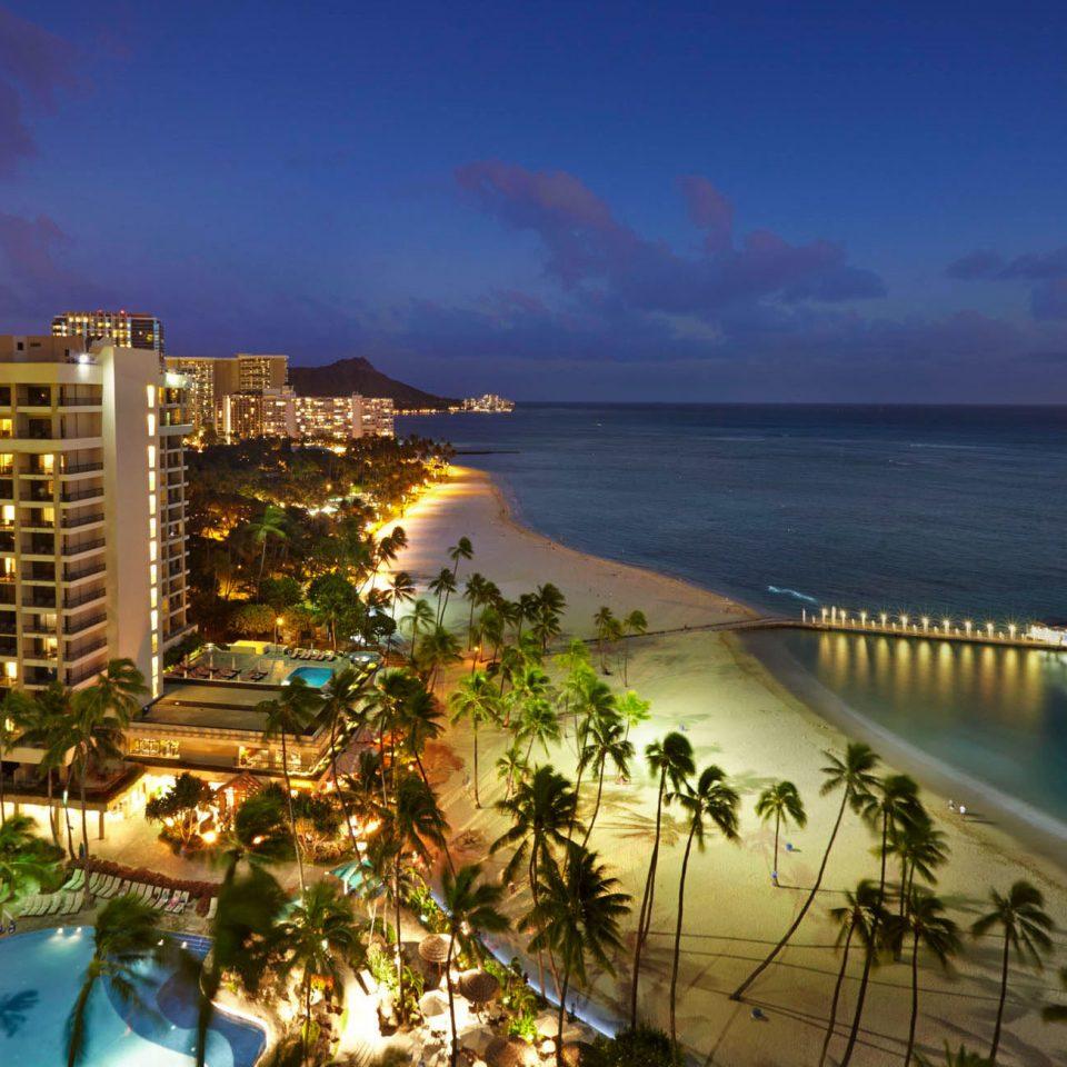 water sky Sea night Coast Beach evening marina cityscape dusk Resort shore overlooking