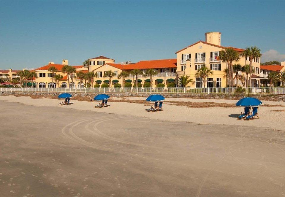 sky ground Beach walkway boardwalk Sea Resort shore town square Coast sand