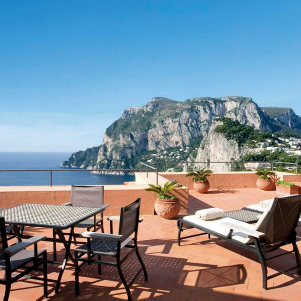 Luxury Rooftop Terrace Waterfront sky chair property leisure mountain Resort Villa Beach cottage Deck day dining table