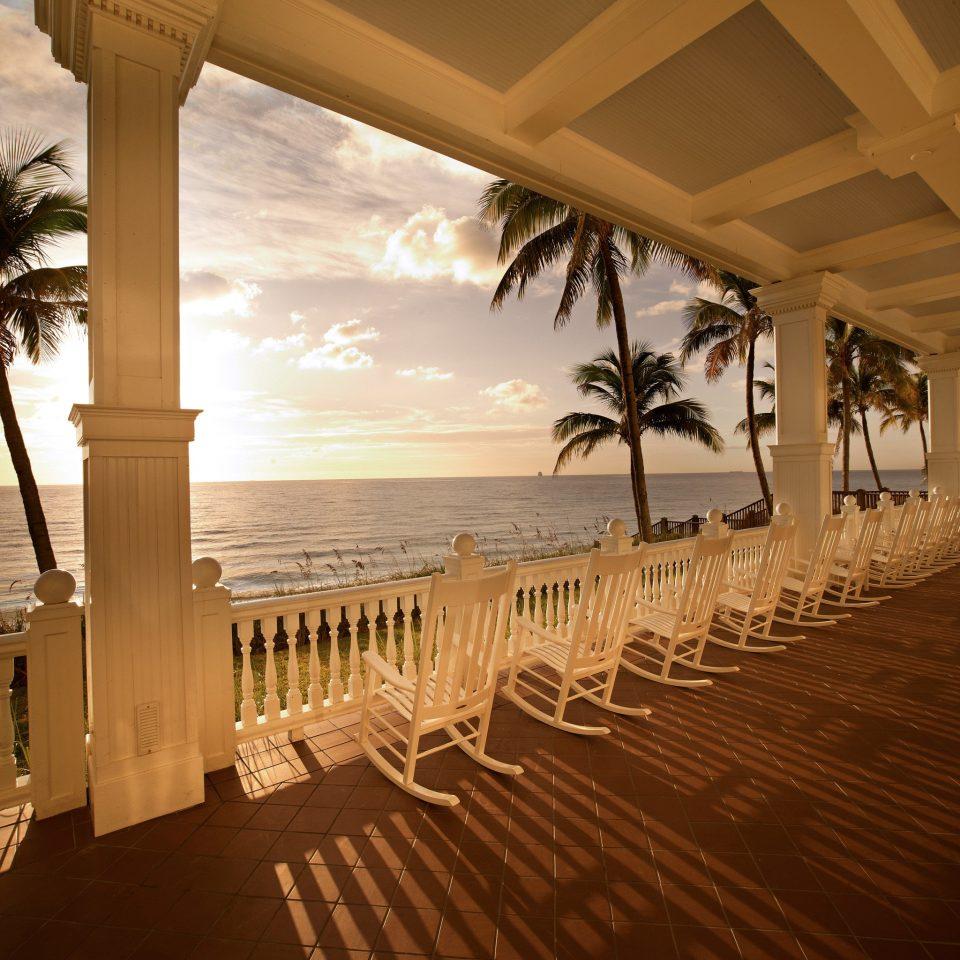Beach Deck Modern Resort Scenic views Waterfront water Ocean porch mansion colonnade overlooking sandy lined