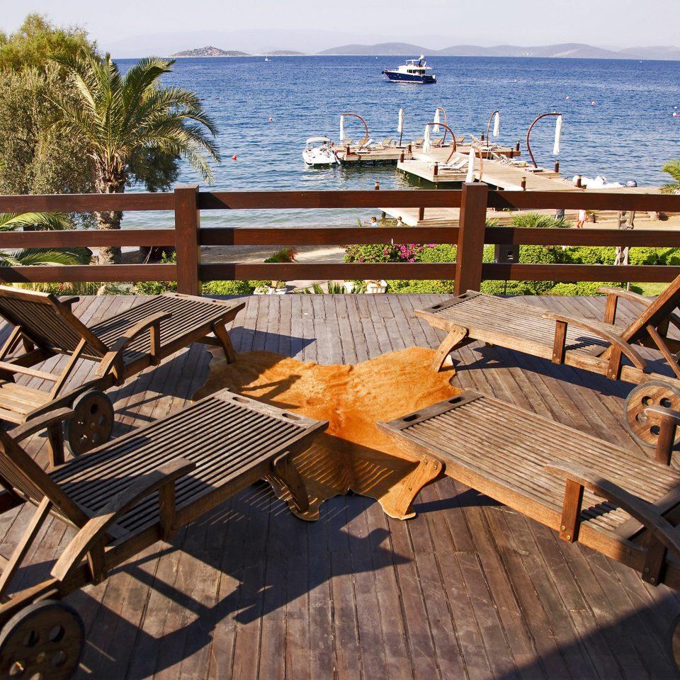 Beach Deck Modern bench wooden sky chair Resort home dock vehicle overlooking cottage set
