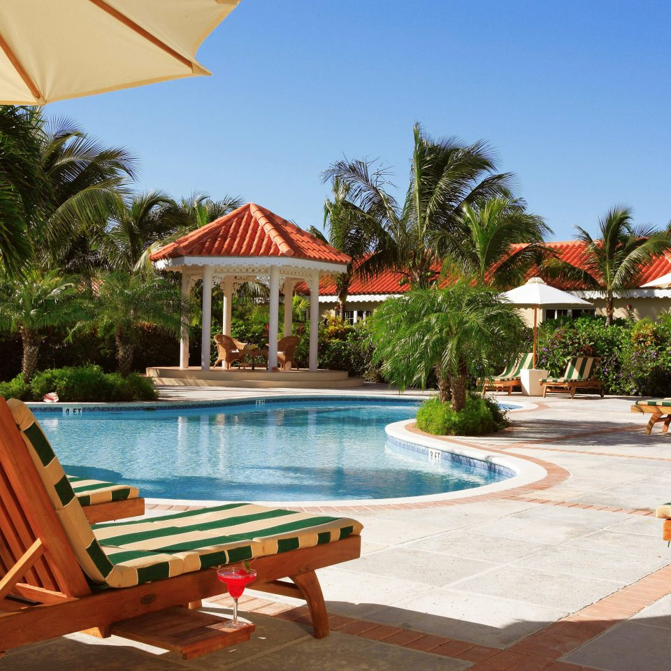 tree umbrella chair leisure lawn Resort Beach property swimming pool caribbean Villa eco hotel empty hacienda lined set sunny shade Deck day