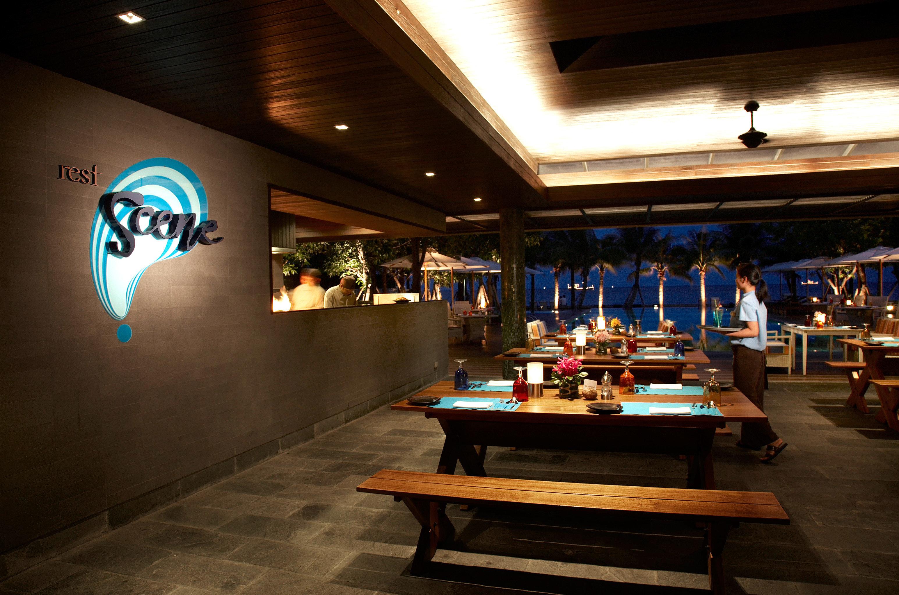 Beach Dining Drink Eat Patio Tropical night restaurant