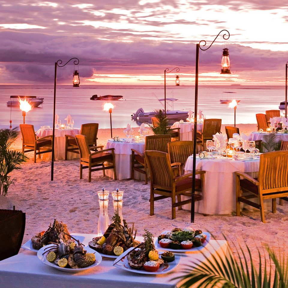 Beach Dining Family Grounds Modern sky evening ceremony wedding restaurant set