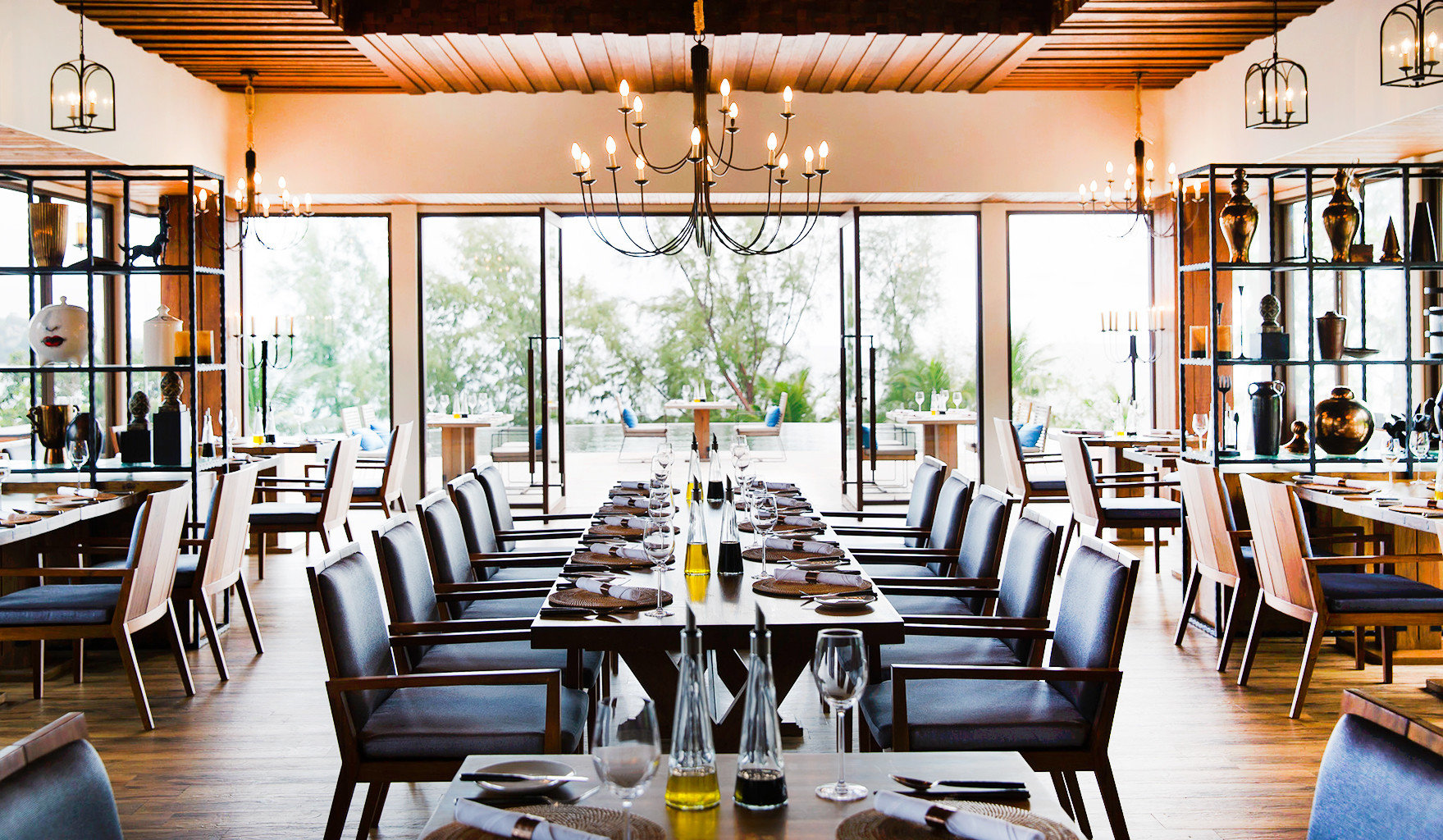 Beach Dining Family Modern Resort chair restaurant wooden home set dining table