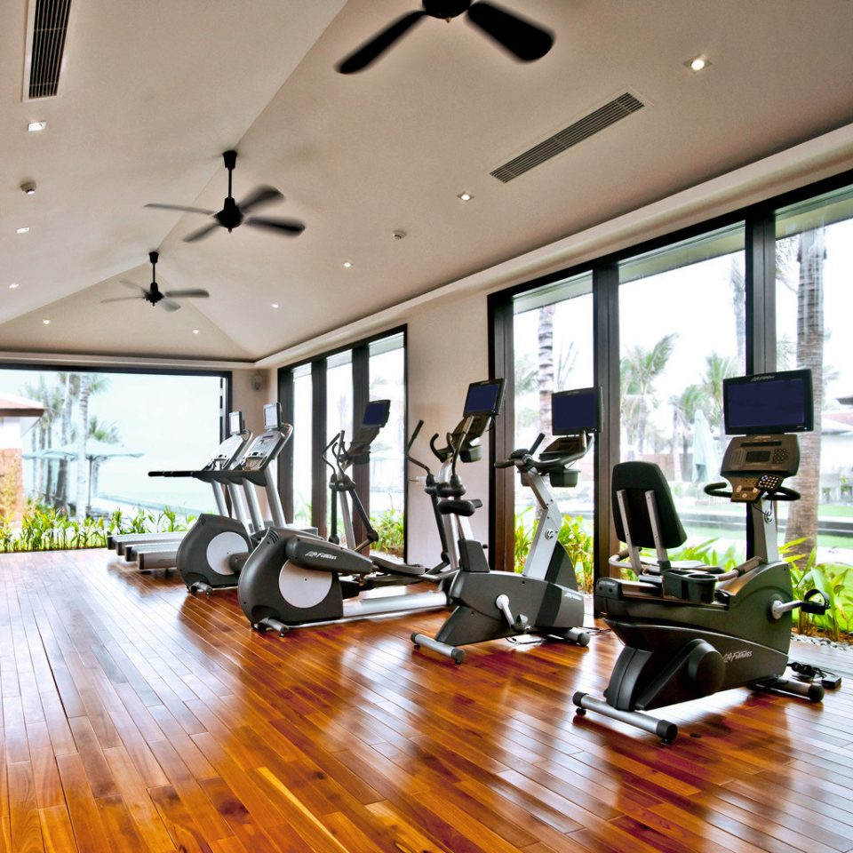 Beach Fitness Jungle Luxury Modern Ocean Resort Tropical Waterfront Wellness structure property sport venue condominium gym home living room Lobby