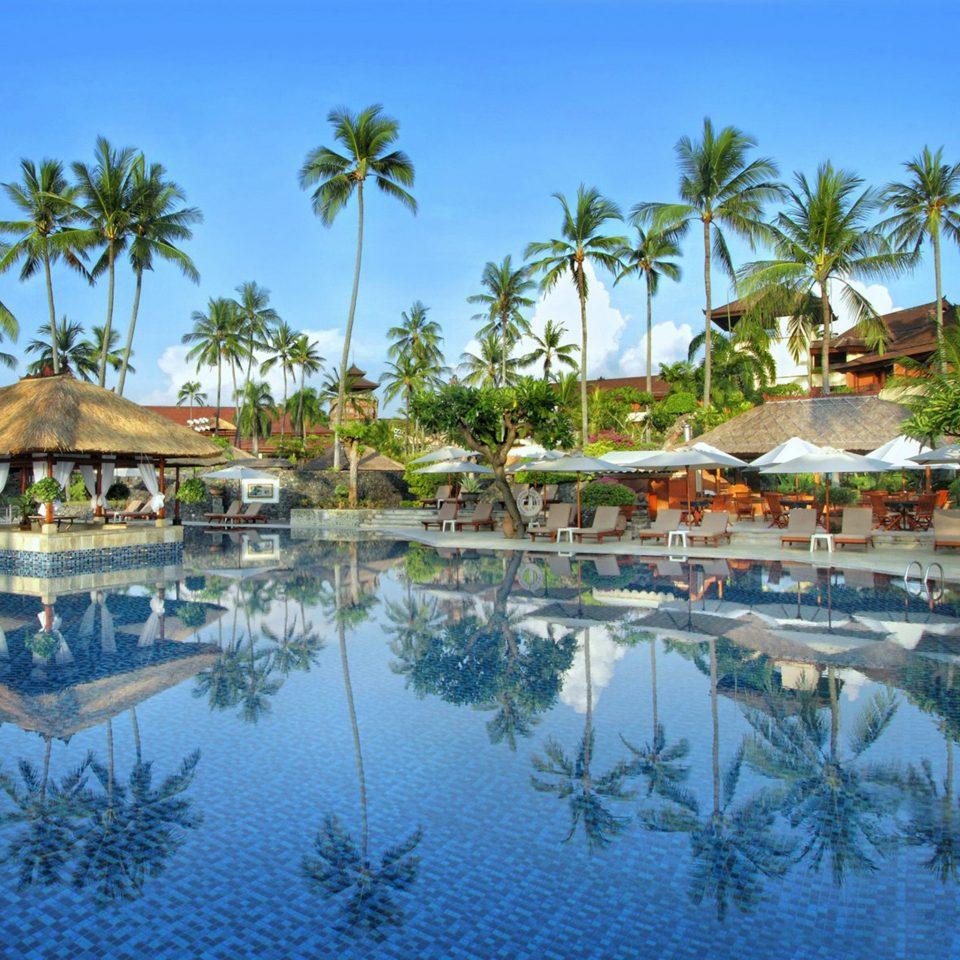 Hip Lounge Luxury Modern Pool tree sky water Nature Resort swimming pool pond palm caribbean Lagoon resort town arecales Beach tropics surrounded shore