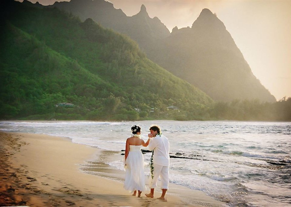 Beach Honeymoon Ocean Resort Romance Romantic water mountain sky man photograph Nature atmospheric phenomenon morning Sea shore sandy