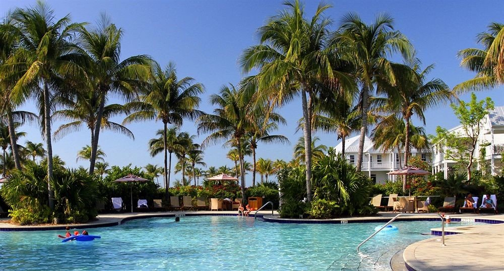 tree water sky palm Resort leisure property swimming pool caribbean arecales Pool Lagoon Beach tropics plant Sea Island lined surrounded swimming