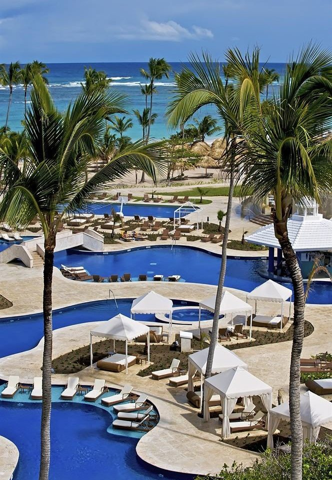 tree umbrella chair leisure Resort marina swimming pool Beach lawn Pool palm caribbean dock Sea arecales Ocean Lagoon Villa lined set shade swimming