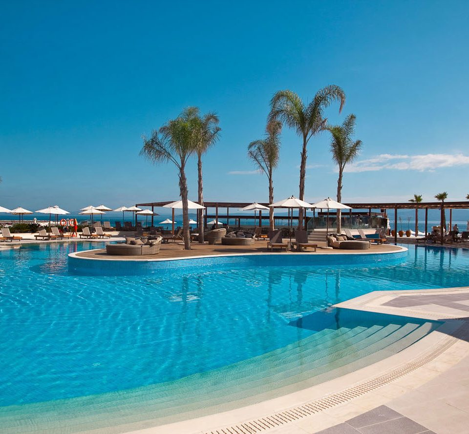 sky water Pool swimming pool swimming leisure Resort Sea scene Ocean Beach caribbean Lagoon marina blue empty palm lined