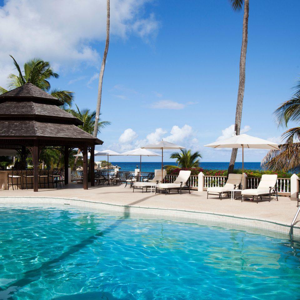 sky water tree Pool swimming pool leisure Resort caribbean swimming Beach water sport blue Sea resort town Lagoon aquatic mammal tropics dolphin palm day