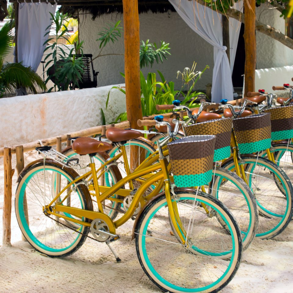 Beach Outdoor Activities Play Secret Getaways Trip Ideas bicycle ground vehicle parked colorful yellow sports equipment cart rack