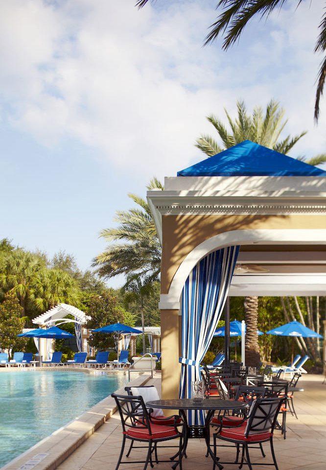 tree sky ground umbrella chair leisure Beach swimming pool Resort palm Pool walkway caribbean arecales Sea shore lined shade sandy day