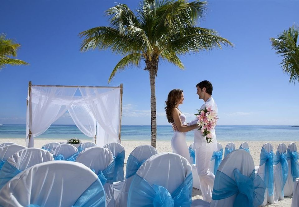 sky tree water blue Beach caribbean ceremony wedding palm arecales Resort swimming shore sandy