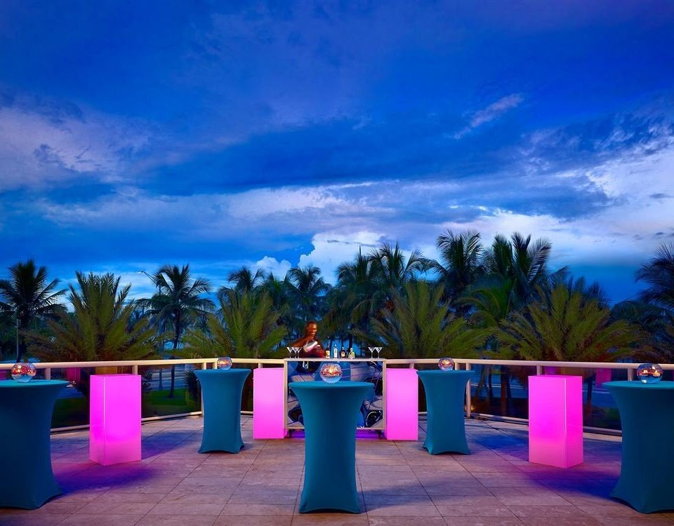 sky blue evening Beach Resort colorful