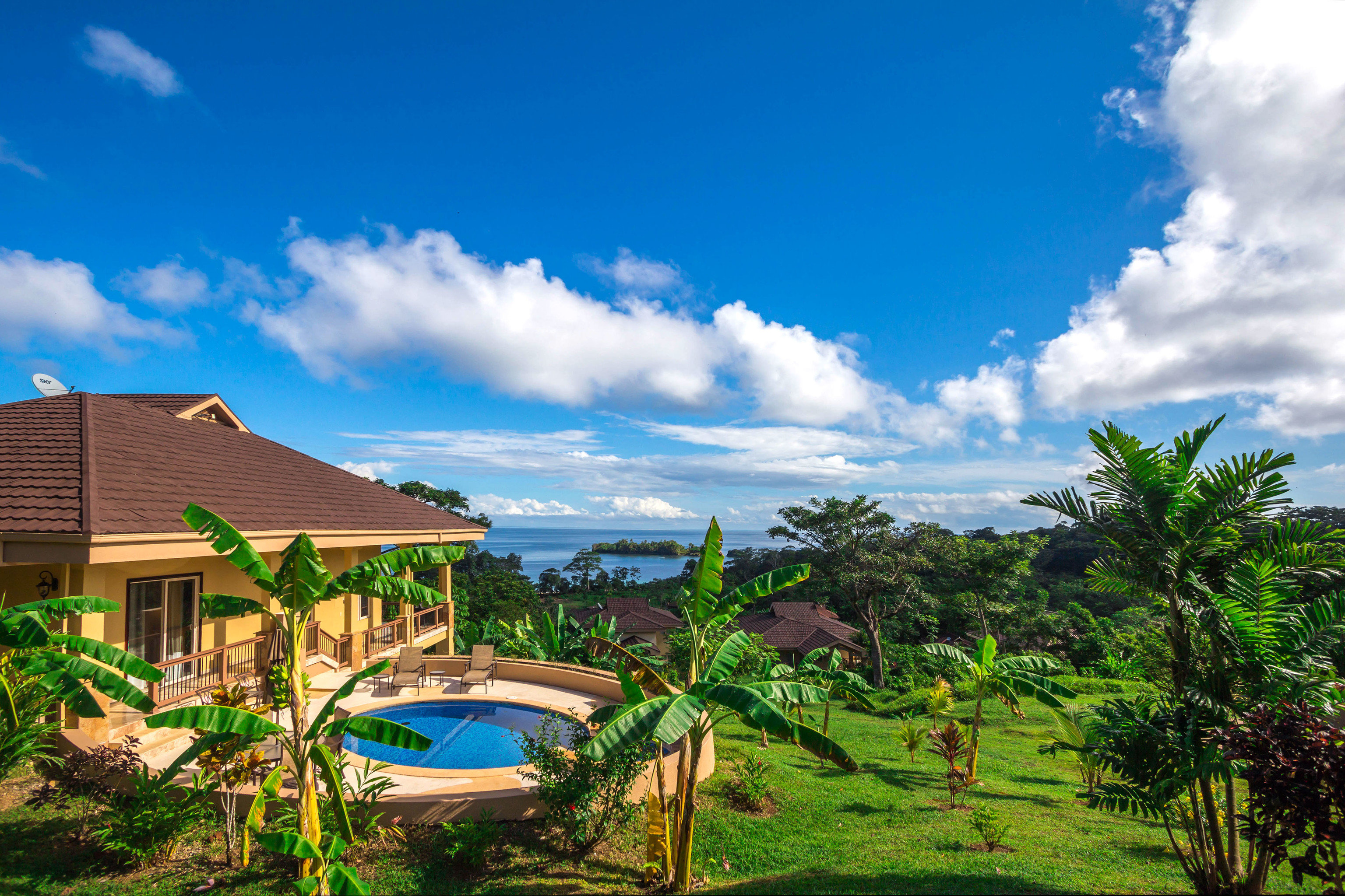 sky grass Resort caribbean Beach swimming pool Sea arecales tropics lush day