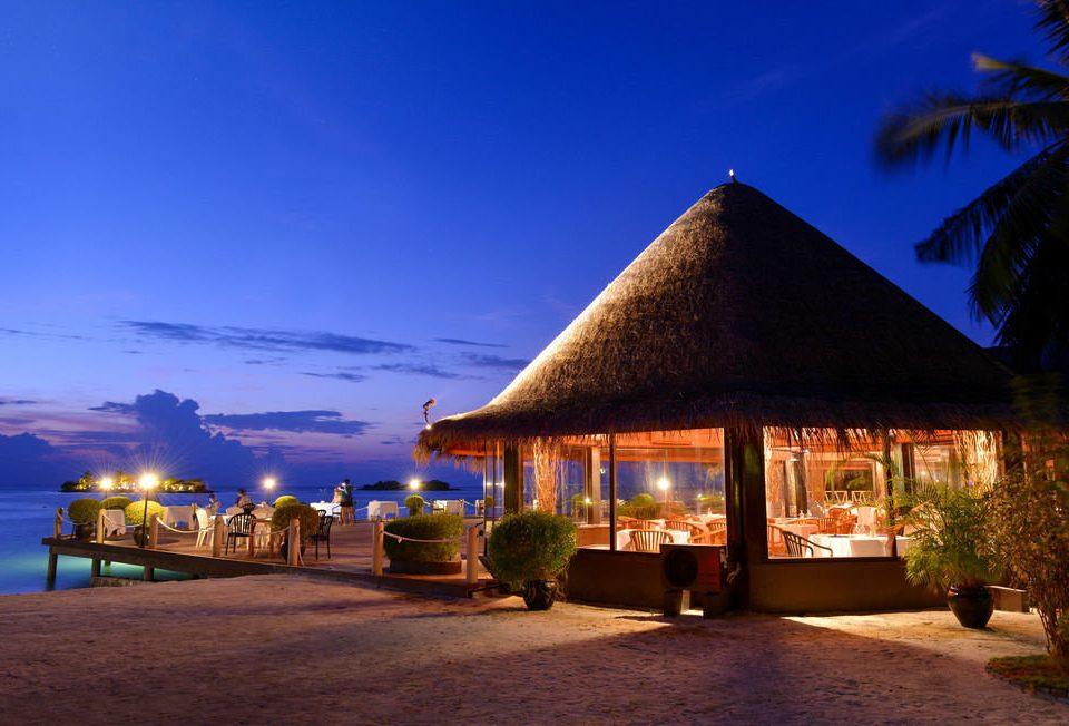 sky Resort Beach night evening Sea hut restaurant dusk