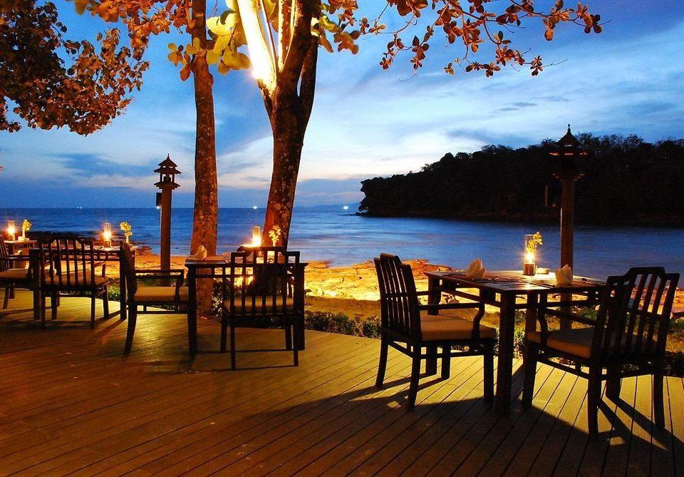 sky water chair evening Beach wooden Resort Sunset Sea dusk lined overlooking set