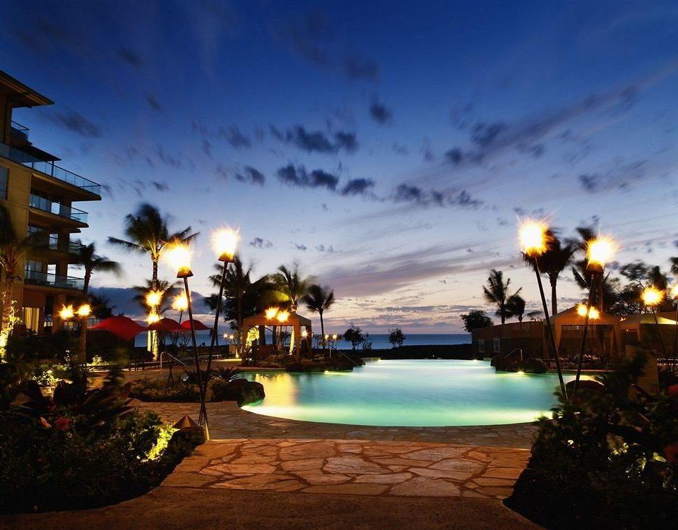 sky light night evening dusk Sunset Sea Resort Beach cityscape