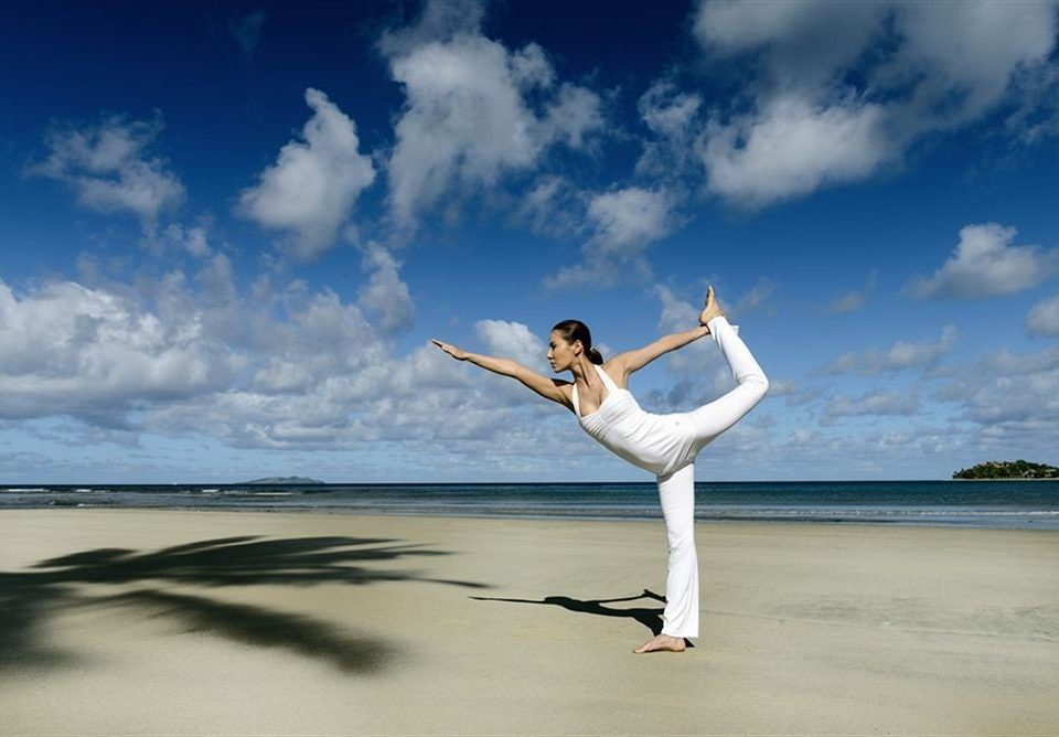 sky sports physical fitness Sea Beach martial arts yoga jumping cloudy air shore clouds day