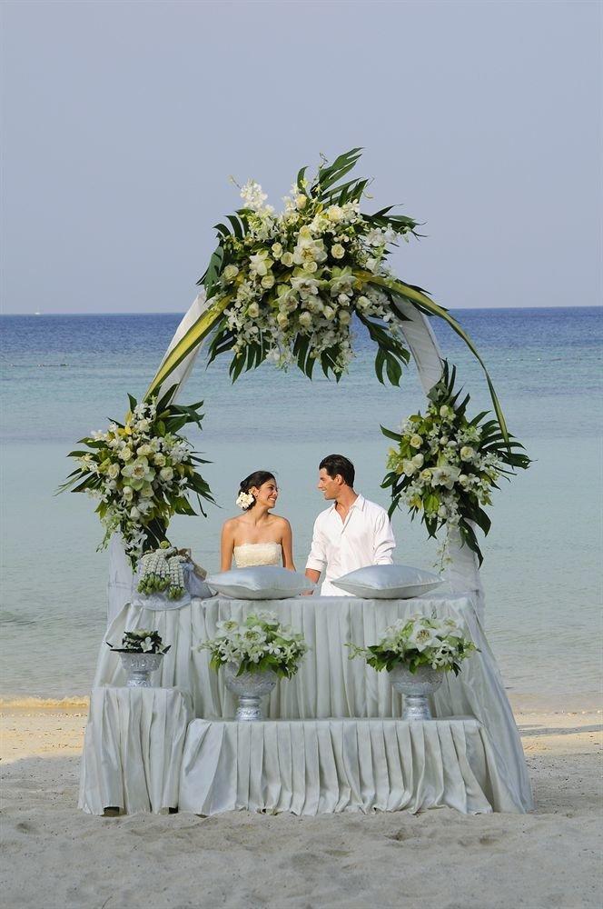 photograph wedding bride Beach ceremony flower Sea caribbean groom