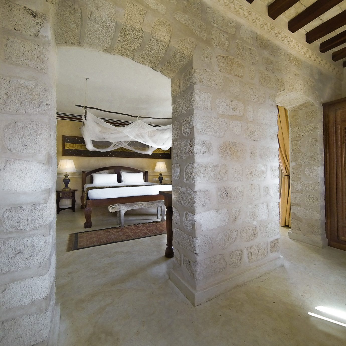 Beachfront Bedroom Boutique Honeymoon Romance property house home plaster mansion flooring stone dirty