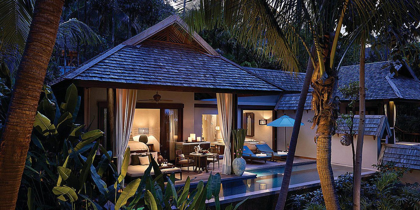 Beachfront Bedroom Elegant Honeymoon Jungle Luxury Patio Pool Romance Romantic Tropical Villa Waterfront tree house home Resort backyard cottage log cabin hut surrounded