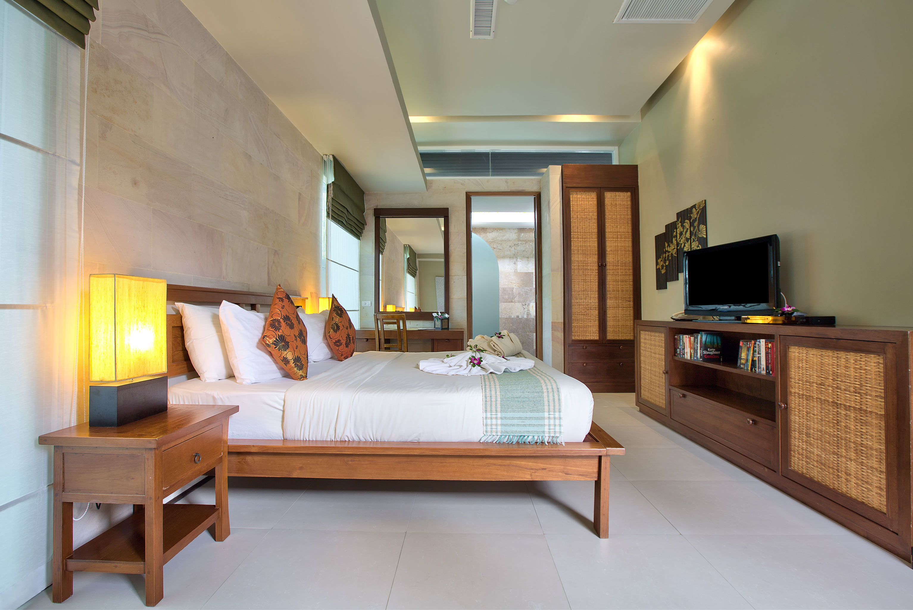 Beachfront Bedroom Elegant Honeymoon Jungle Romance Romantic Tropical Waterfront property living room home house hardwood condominium cottage wood flooring Suite Villa