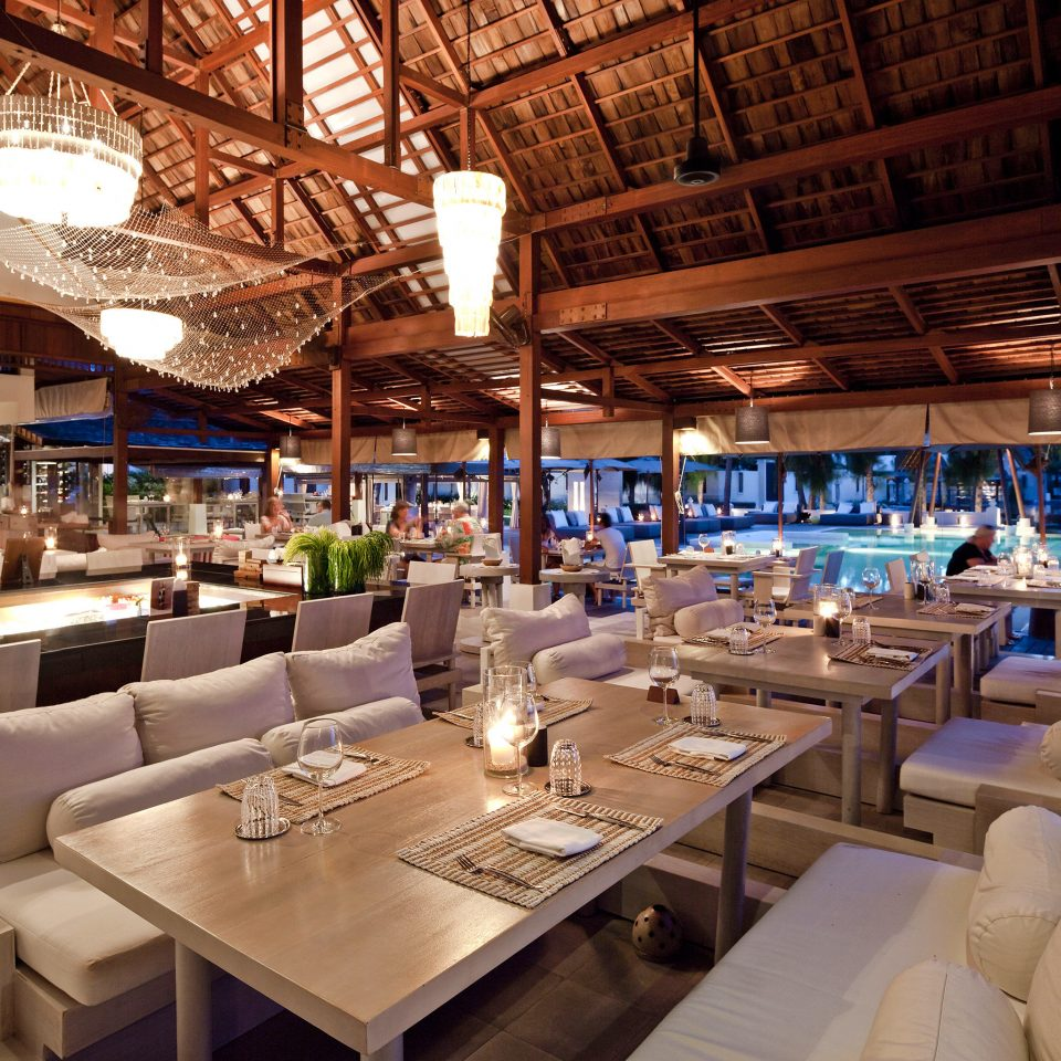 Beachfront Dining Drink Eat Tropical Waterfront vehicle restaurant yacht passenger ship Boat function hall