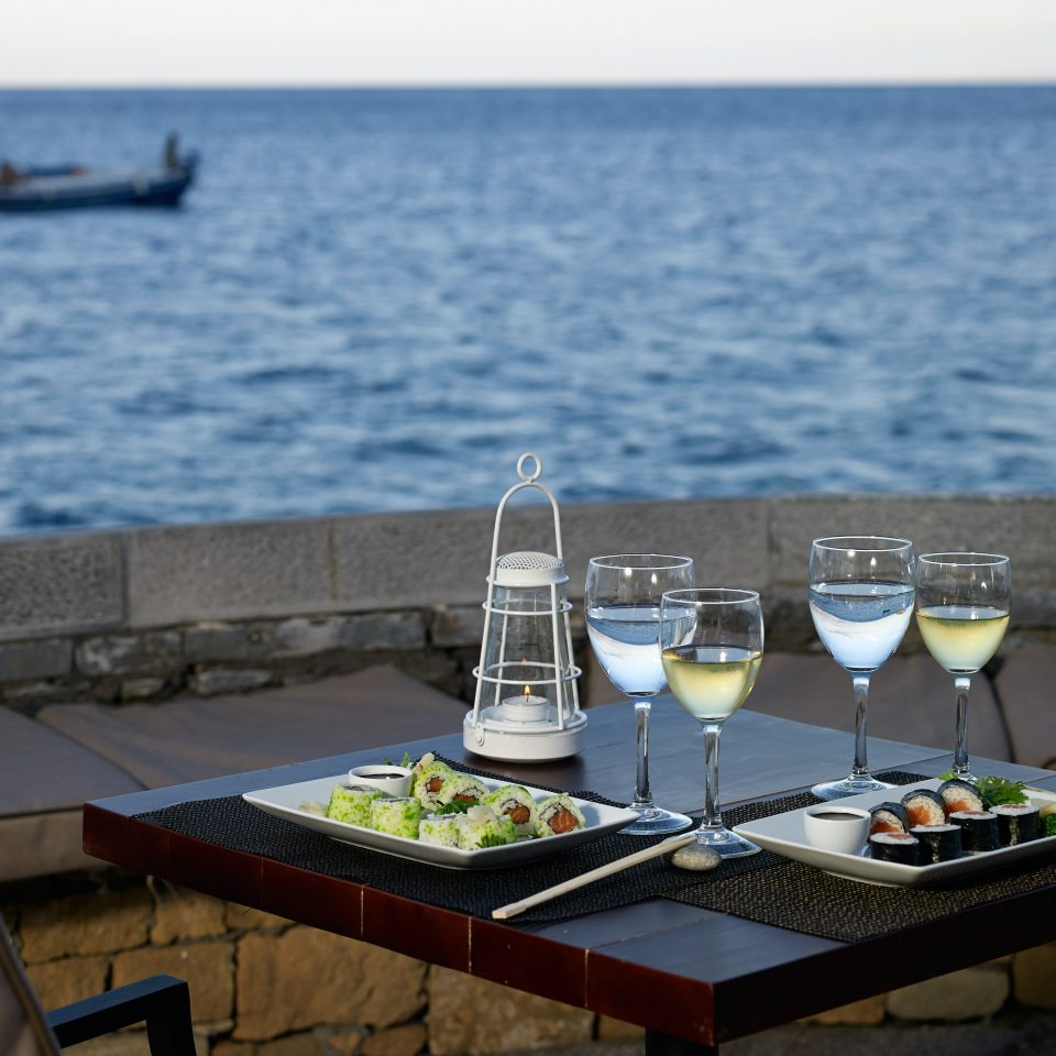 Beachfront Dining Drink Eat Luxury Modern Scenic views water yacht vehicle Boat restaurant