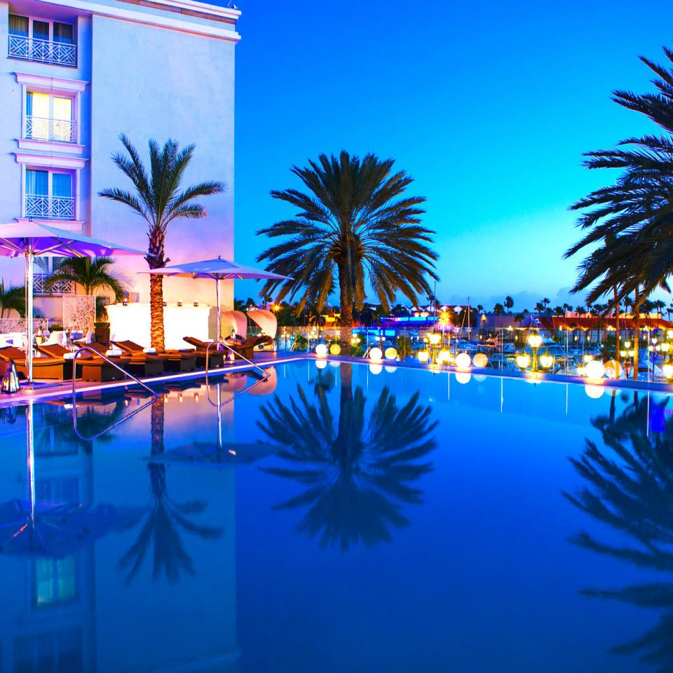 Beachfront Budget Hotels Nightlife Pool tree swimming pool Resort night light palm arecales evening lit marina colorful