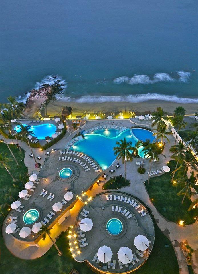 Beachfront Buildings Exterior Hot tub/Jacuzzi Lounge Pool Tropical Resort Sea aerial photography screenshot Water park