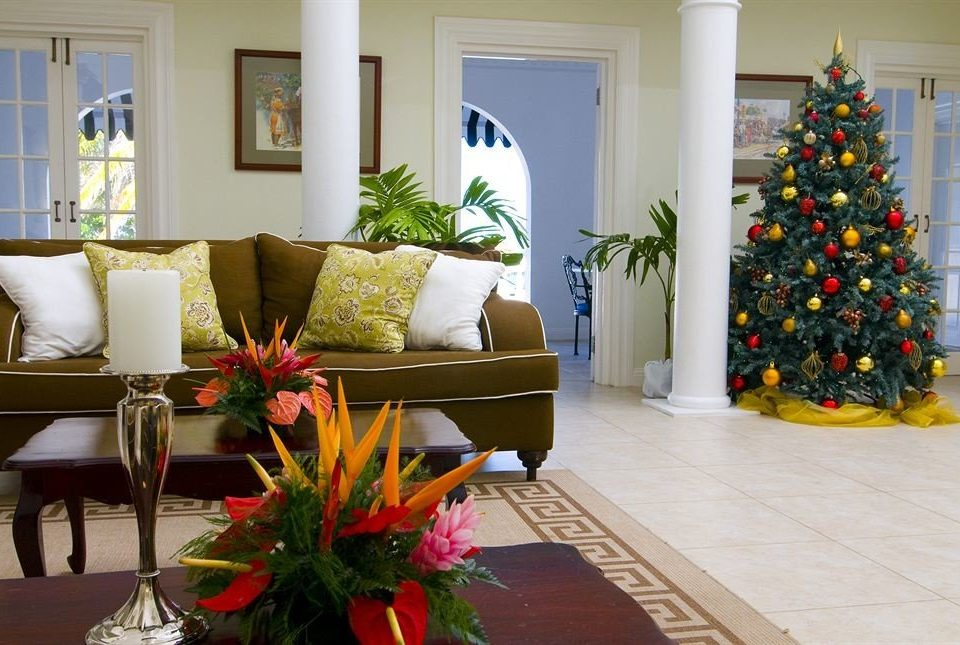 Beachfront Lounge Tropical Villa flower plant living room home bed sheet Christmas tree Christmas colorful arranged