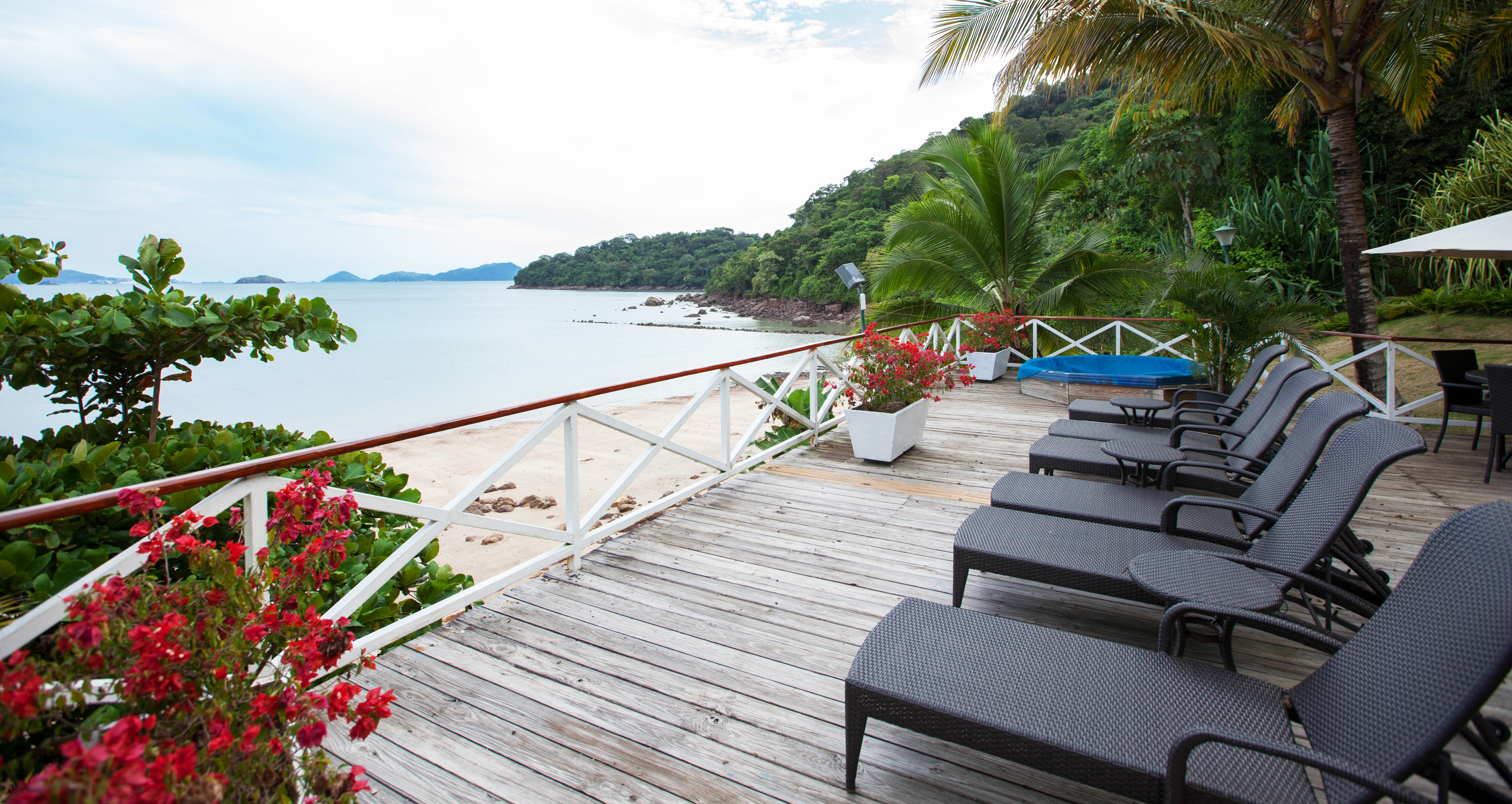 Beachfront Classic Deck Family Resort tree sky leisure walkway wooden swimming pool porch cottage Villa overlooking Garden